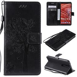 Embossing Butterfly Tree Leather Wallet Case for Nokia 3.1 Plus - Black