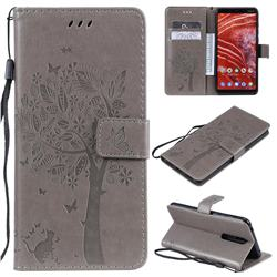 Embossing Butterfly Tree Leather Wallet Case for Nokia 3.1 Plus - Grey