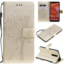 Embossing Butterfly Tree Leather Wallet Case for Nokia 3.1 Plus - Champagne