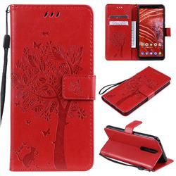 Embossing Butterfly Tree Leather Wallet Case for Nokia 3.1 Plus - Red
