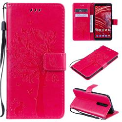 Embossing Butterfly Tree Leather Wallet Case for Nokia 3.1 Plus - Rose