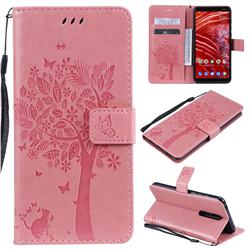 Embossing Butterfly Tree Leather Wallet Case for Nokia 3.1 Plus - Pink