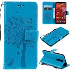 Embossing Butterfly Tree Leather Wallet Case for Nokia 3.1 Plus - Blue