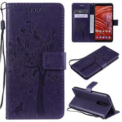 Embossing Butterfly Tree Leather Wallet Case for Nokia 3.1 Plus - Purple