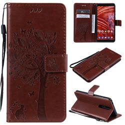 Embossing Butterfly Tree Leather Wallet Case for Nokia 3.1 Plus - Coffee