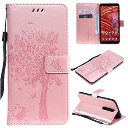 Embossing Butterfly Tree Leather Wallet Case for Nokia 3.1 Plus - Rose Pink