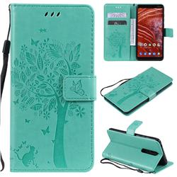 Embossing Butterfly Tree Leather Wallet Case for Nokia 3.1 Plus - Cyan