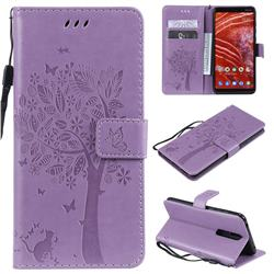 Embossing Butterfly Tree Leather Wallet Case for Nokia 3.1 Plus - Violet