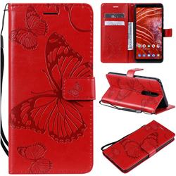 Embossing 3D Butterfly Leather Wallet Case for Nokia 3.1 Plus - Red
