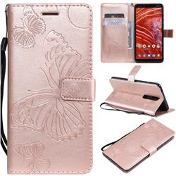 Embossing 3D Butterfly Leather Wallet Case for Nokia 3.1 Plus - Rose Gold