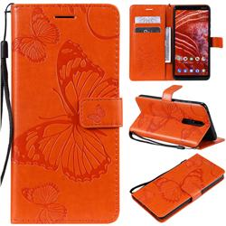 Embossing 3D Butterfly Leather Wallet Case for Nokia 3.1 Plus - Orange