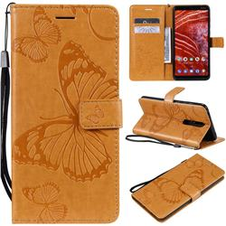 Embossing 3D Butterfly Leather Wallet Case for Nokia 3.1 Plus - Yellow