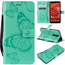 Embossing 3D Butterfly Leather Wallet Case for Nokia 3.1 Plus - Green