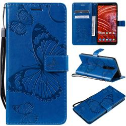 Embossing 3D Butterfly Leather Wallet Case for Nokia 3.1 Plus - Blue