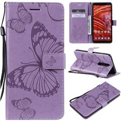 Embossing 3D Butterfly Leather Wallet Case for Nokia 3.1 Plus - Purple