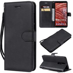 Retro Greek Classic Smooth PU Leather Wallet Phone Case for Nokia 3.1 Plus - Black