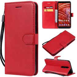 Retro Greek Classic Smooth PU Leather Wallet Phone Case for Nokia 3.1 Plus - Red