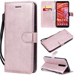 Retro Greek Classic Smooth PU Leather Wallet Phone Case for Nokia 3.1 Plus - Rose Gold