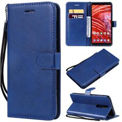 Retro Greek Classic Smooth PU Leather Wallet Phone Case for Nokia 3.1 Plus - Blue