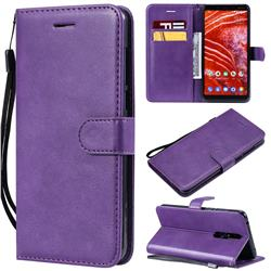 Retro Greek Classic Smooth PU Leather Wallet Phone Case for Nokia 3.1 Plus - Purple
