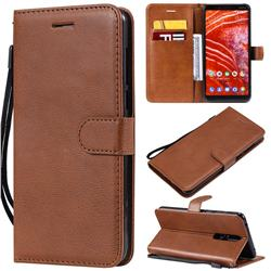 Retro Greek Classic Smooth PU Leather Wallet Phone Case for Nokia 3.1 Plus - Brown