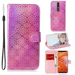 Laser Circle Shining Leather Wallet Phone Case for Nokia 3.1 Plus - Pink
