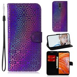 Laser Circle Shining Leather Wallet Phone Case for Nokia 3.1 Plus - Purple