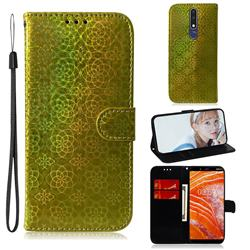 Laser Circle Shining Leather Wallet Phone Case for Nokia 3.1 Plus - Golden