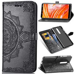 Embossing Imprint Mandala Flower Leather Wallet Case for Nokia 3.1 Plus - Black