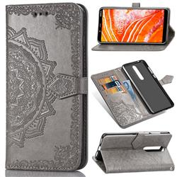 Embossing Imprint Mandala Flower Leather Wallet Case for Nokia 3.1 Plus - Gray