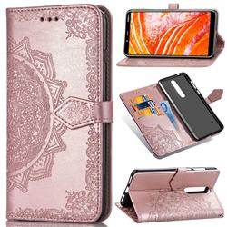 Embossing Imprint Mandala Flower Leather Wallet Case for Nokia 3.1 Plus - Rose Gold