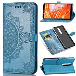 Embossing Imprint Mandala Flower Leather Wallet Case for Nokia 3.1 Plus - Blue