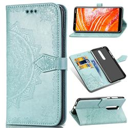 Embossing Imprint Mandala Flower Leather Wallet Case for Nokia 3.1 Plus - Green