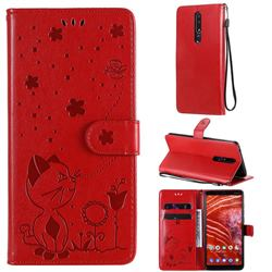Embossing Bee and Cat Leather Wallet Case for Nokia 3.1 Plus - Red