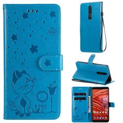 Embossing Bee and Cat Leather Wallet Case for Nokia 3.1 Plus - Blue