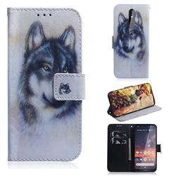 Snow Wolf PU Leather Wallet Case for Nokia 3.2