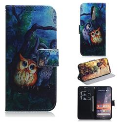 Oil Painting Owl PU Leather Wallet Case for Nokia 3.2
