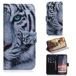 White Tiger PU Leather Wallet Case for Nokia 3.2
