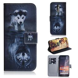 Wolf and Dog PU Leather Wallet Case for Nokia 3.2