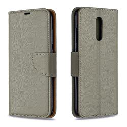 Classic Luxury Litchi Leather Phone Wallet Case for Nokia 3.2 - Gray