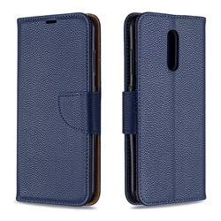Classic Luxury Litchi Leather Phone Wallet Case for Nokia 3.2 - Blue