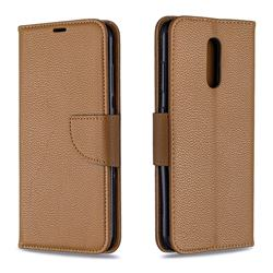 Classic Luxury Litchi Leather Phone Wallet Case for Nokia 3.2 - Brown