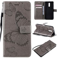 Embossing 3D Butterfly Leather Wallet Case for Nokia 3.2 - Gray