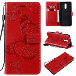 Embossing 3D Butterfly Leather Wallet Case for Nokia 3.2 - Red