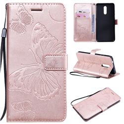 Embossing 3D Butterfly Leather Wallet Case for Nokia 3.2 - Rose Gold
