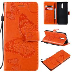 Embossing 3D Butterfly Leather Wallet Case for Nokia 3.2 - Orange