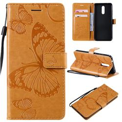 Embossing 3D Butterfly Leather Wallet Case for Nokia 3.2 - Yellow