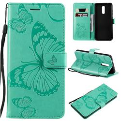 Embossing 3D Butterfly Leather Wallet Case for Nokia 3.2 - Green