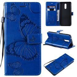 Embossing 3D Butterfly Leather Wallet Case for Nokia 3.2 - Blue