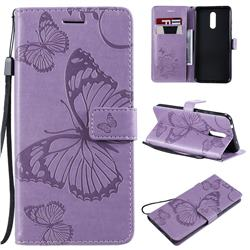 Embossing 3D Butterfly Leather Wallet Case for Nokia 3.2 - Purple